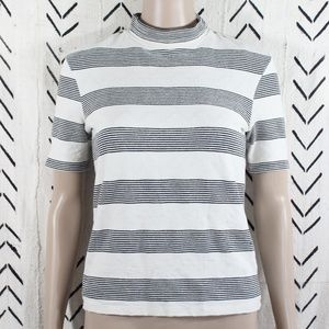 ZARA Trafaluc Striped Mock Neck T-Shirt Size Small